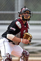 Saint Joseph's Hawks catcher Deon Stafford (37) during practice before a game against the Indiana Hoosiers on March 7, 2015 at North Charlotte Regional Park in Port Charlotte, Florida.  Indiana defeated Saint Joseph's 3-2.  (Mike Janes/Four Seam Images)
