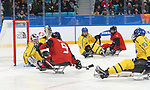 Pyeongchang, Korea, 10/3/2018-Corbyn Smith of Canada plays Sweden in hockey during the 2018 Paralympic Games in PyeongChang. Photo Scott Grant/Canadian Paralympic Committee.