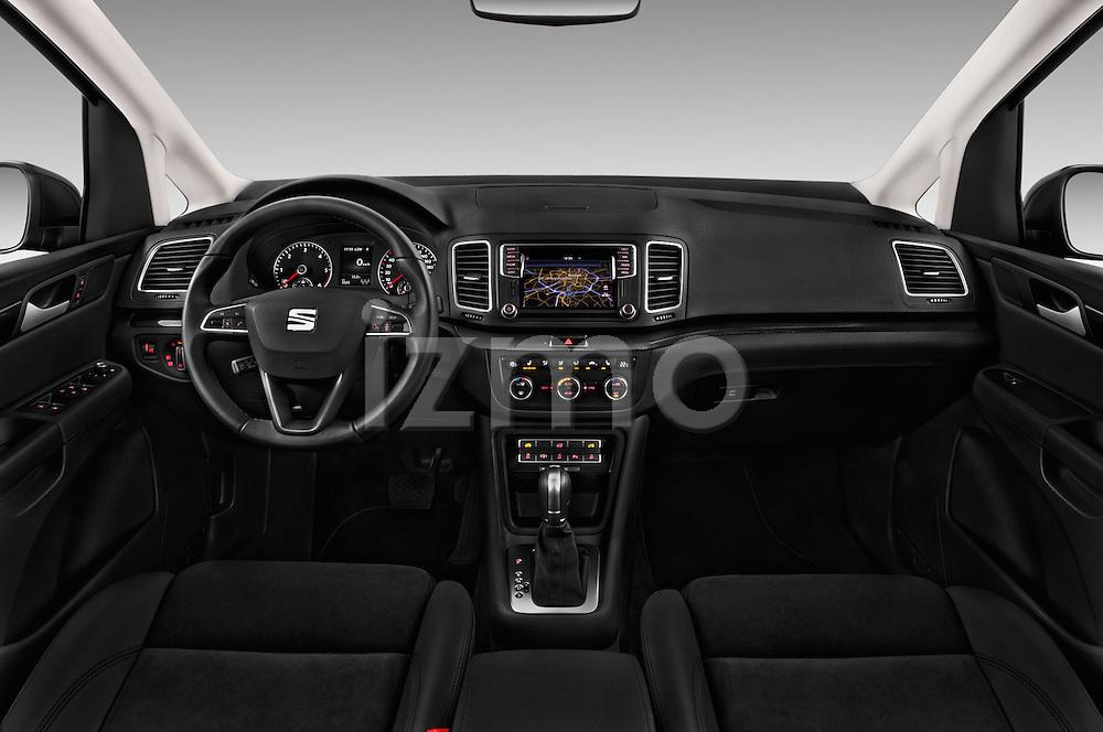 Stock photo of straight dashboard view of 2016 Seat Alhambra Style Advance 5 Door Minivan Dashboard