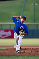 AZL Cubs starting pitcher Yunior Perez (72) delivers a pitch to the plate against the AZL Royals on July 19, 2017 at Sloan Park in Mesa, Arizona. AZL Cubs defeated the AZL Royals 5-4. (Zachary Lucy/Four Seam Images)