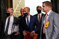 """United States Secretary of Labor Eugene Scalia, center, arrives to testify before the US Senate Finance Committee for a hearing on """"COVID-19/Unemployment Insurance"""" on Capitol Hill in Washington on Tuesday, June 9, 2020. <br /> Credit: Caroline Brehman / Pool via CNP/AdMedia"""
