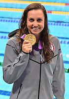 August 02, 2012..Rebecca Soni pose with the 200m Breaststroke Gold Medal  at the Aquatics Center on day six of 2012 Olympic Games in London, United Kingdom.