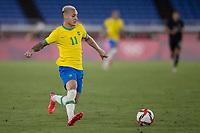22nd July 2021; Stadium Yokohama, Yokohama, Japan; Tokyo 2020 Olympic Games, Brazil versus Germany; Antony of Brazil controls the pass out wide