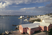 Bermuda, St. George's Parish, Scenic view of St. George and St. George's Harbor from St. George's Club in Bermuda.
