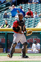 Robinzon Diaz (23) of the Nashville Sounds on defense against the Salt Lake Bees at Smith's Ballpark on June 22, 2014 in Salt Lake City, Utah.  (Stephen Smith/Four Seam Images)