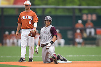 Tucker, Travis and Gonzales, Kevin 0512.jpg.  Big 12 Baseball game with Texas A&M Aggies at Texas Lonhorns  at UFCU Disch Falk Field on May 9th 2009 in Austin, Texas. Photo by Andrew Woolley.