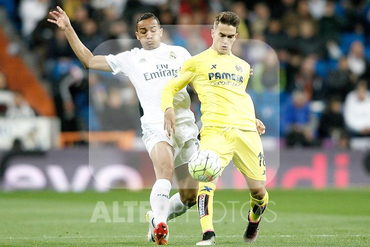 Real Madrid's Danilo da Silva (l) and Villareal's Denis Suarez during La Liga match. April 20,2016. (ALTERPHOTOS/Acero)