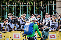 green jersey Julian Alaphilippe (FRA/Deceuninck-Quick Step) post stage interview <br /> <br /> Stage 3 from Lorient to Pontivy (183km)<br /> 108th Tour de France 2021 (2.UWT)<br /> <br /> ©kramon