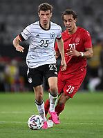 2nd June 2021, Tivoli Stadion, Innsbruck, Austria; International football friendly, Germany versus Denmark;  Thomas Mueller left, Germany vs Yussuf Poulsen right, Denmark
