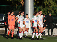OHL players walk onto the pitch before a female soccer game between Oud Heverlee Leuven and Eendracht Aalst Ladies  on the third matchday of the 2020 - 2021 season of Belgian Womens Super League , Sunday 4 th of October 2020  in Heverlee , Belgium . PHOTO SPORTPIX.BE | SPP | SEVIL OKTEM