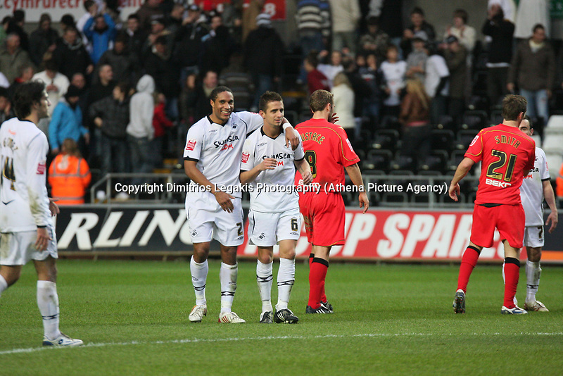 Pictured: Ashley Williams (left) and Ferrie Bodde (right) of Swansea City<br /> Re: Coca Cola Championship, Swansea City Football Club v Watford at the Liberty Stadium, Swansea, south Wales 09 November 2008.<br /> Picture by Dimitrios Legakis Photography (Athena Picture Agency), Swansea, 07815441513