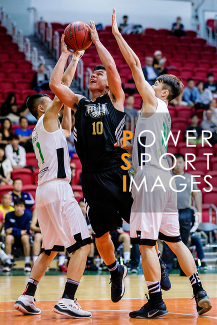 Gonzalez Lau #10 of Eagle Basketball Team (C) vies with Au Yeung Wai Kong #41 of Tycoon Basketball Team (L) and Cheung Pan Yin #18 of Tycoon Basketball Team (R) during the Hong Kong Basketball League game between Tycoon vs Eagle at Southorn Stadium on May 11, 2018 in Hong Kong. Photo by Yu Chun Christopher Wong / Power Sport Images