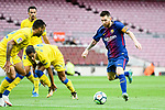 Lionel Andres Messi (R) of FC Barcelona in action during the La Liga 2017-18 match between FC Barcelona and Las Palmas at Camp Nou on 01 October 2017 in Barcelona, Spain. (Photo by Vicens Gimenez / Power Sport Images