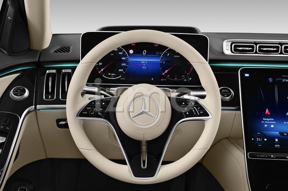 Car pictures of steering wheel view of a 2021 Mercedes Benz S-Class S-350 4 Door Sedan Steering Wheel