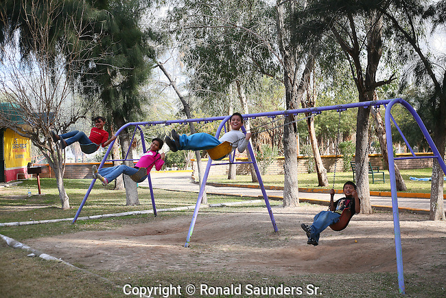 CHILDREN on a SWING at the PARK