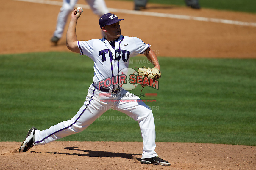 Pitcher Kaleb Merck #6 of the Texas Christian University Horned Frogs delivers during the NCAA Regional baseball game against the Ole Miss Rebels on June 1, 2012 at Blue Bell Park in College Station, Texas. Ole Miss defeated TCU 6-2. (Andrew Woolley/Four Seam Images).