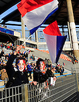 Lorient, France. - Sunday, February 8, 2015: French Fans. France defeated the USWNT 2-0 during an international friendly at the Stade du Moustoir.