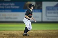 Great Falls Voyagers pinch-runner David Cronin (7) takes his lead off of second base against the Helena Brewers at Centene Stadium on August 19, 2017 in Helena, Montana.  The Voyagers defeated the Brewers 8-7.  (Brian Westerholt/Four Seam Images)