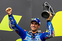 29th August 2021; Silverstone Circuit, Silverstone, Northamptonshire, England; MotoGP British Grand Prix, Race Day; Team Suzuki Ecstar rider Alex Rins celebrates his second place