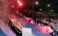 Rostock Fans with flares<br /> / Sport / Fußball Fussball / DFB Pokal 1. Runde 3.Liga Bundesliga / Saison 2017/2018 / 14.08.2017 / FC Hansa Rostock FCH vs. Hertha BSC Berlin *** Local Caption *** © pixathlon +++ tel. +49 - (040) - 22 63 02 60 - mail: info@pixathlon.de
