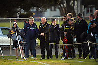 Wellington Rugby staff watch the Mitre Ten Cup rugby union preseason match between Wellington Lions and Tasman at Evans Bay Park, Wellington, New Zealand on Wednesday, 3 August 2016. Photo: Dave Lintott / lintottphoto.co.nz
