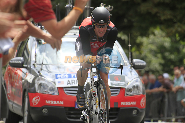 Lance Armstrong (USA) Team Radioshack in action during Stage 19 of the 2010 Tour de France an individual time trial running 52km from Bordeaux to Pauillac, France. 24th July 2010.<br /> (Photo by Eoin Clarke/NEWSFILE).<br /> All photos usage must carry mandatory copyright credit (© NEWSFILE | Eoin Clarke)