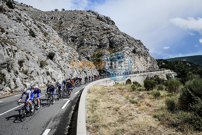 The peloton led by Deceuninck-Quick Step during Stage 3 of Tour de France 2020, running 198km from Nice to Sisteron, France. 31st August 2020.<br /> Picture: ASO/Pauline Ballet   Cyclefile<br /> All photos usage must carry mandatory copyright credit (© Cyclefile   ASO/Pauline Ballet)
