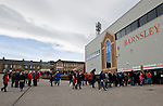 Barnsley 1 Millwall 0, 22/02/2014. Oakwell, Championship. Millwall make the journey from south London to South Yorkshire for a Championship relegation battle with Barnsley. Barnsley fans gather outside the Pontefract Road end of Oakwell.  Photo by Simon Gill.