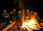 Telling stories till midnight at the campfire. John Muir Wilderness, Sierra National Forest, on the west side of the Sierra Nevada, California