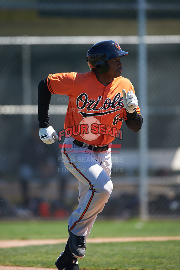 Baltimore Orioles Randolph Gassaway (64) runs to first base during a minor league Spring Training game against the Minnesota Twins on March 17, 2017 at the Buck O'Neil Baseball Complex in Sarasota, Florida.  (Mike Janes/Four Seam Images)