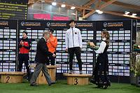 SPEEDSKATING: HAMAR: 01-03-2020, ISU World Speed Skating Championships, Allround, Final Podium, Sverre Lunde Pedersen (NOR), Patrick Roest (NED), Seitaro Ichinohe (JPN), Jan Dijkema (President ISU), ©photo Martin de Jong