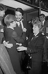 FRANCA VALERI CON CHRISTIAN DE SICA E MARIA MERCADER<br /> SERATA AL TEATRO ELISEO DICEMBRE 1978