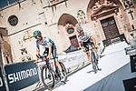 Bora-Hansgrohe riders recon Stage 1 of La Vuelta d'Espana 2021, a 7.1km individual time trial around Burgos, Spain. 14th August 2021. <br /> Picture: Unipublic/Charly Lopez | Cyclefile<br /> <br /> All photos usage must carry mandatory copyright credit (© Cyclefile | Unipublic/Charly Lopez)