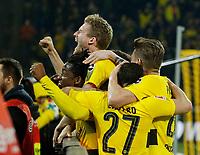 Dortmund, Germany, 1. Football  BL,  match day 26 ,<br />Borussia Dortmund vs Eintracht Frankfurt 3-211 . 03 .2018  Signal - Iduna Park stadium  in Dortmund <br />Michy BATSHUAYI (BVB) celebrates, Andre Schuerrle *** Local Caption *** © pixathlon<br /> Contact: +49-40-22 63 02 60 , info@pixathlon.de