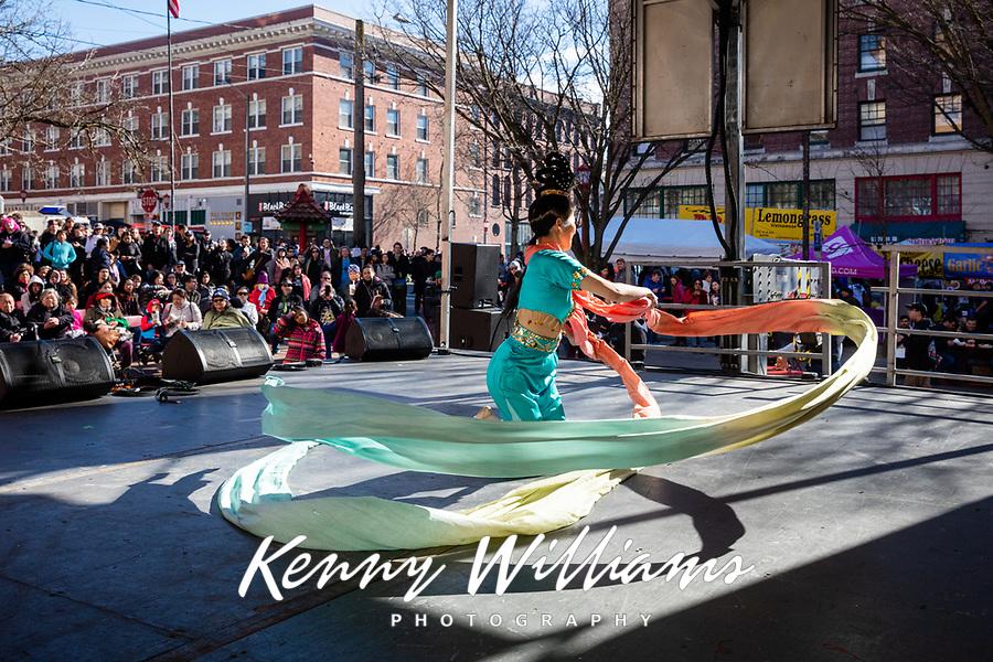 Tanya Woo, Chinese Cultural Dance Performer, Chinese New Year, Chinatown, Seattle, WA, USA.