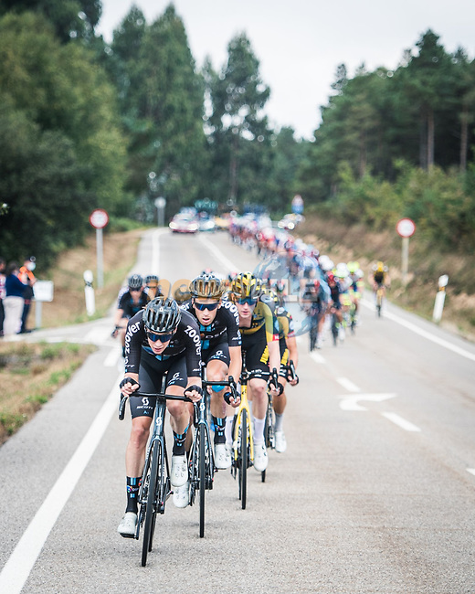 The peloton led by Team DSM during Stage 19 of La Vuelta d'Espana 2021, running 191.2km from Tapia de Casariego to Monforte de Lemos, Spain. 3rd September 2021.    <br /> Picture: Unipublic/Charly Lopez | Cyclefile<br /> <br /> All photos usage must carry mandatory copyright credit (© Cyclefile | Charly Lopez/Unipublic)