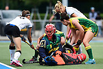 GER - Mannheim, Germany, May 24: During the U16 Girls match between Australia (green) and Germany (white) during the international witsun tournament on May 24, 2015 at Mannheimer HC in Mannheim, Germany. Final score 0-6 (0-3). (Photo by Dirk Markgraf / www.265-images.com) *** Local caption *** Mimi Blanks #1 of Australia, Emma Corcoran #7 of Australia
