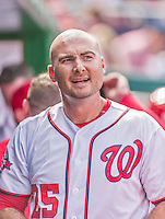 30 August 2015: Washington Nationals first baseman Clint Robinson returns to the dugout after pinch hitting a two-run homer in the 6th inning against the Miami Marlins at Nationals Park in Washington, DC. The Nationals rallied to defeat the Marlins 7-4 in the third game of their 3-game weekend series. Mandatory Credit: Ed Wolfstein Photo *** RAW (NEF) Image File Available ***