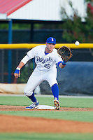Burlington Royals first baseman Brandon Dulin (26) stretches for a throw during the game against the Greeneville Astros at Burlington Athletic Park on June 30, 2014 in Burlington, North Carolina.  The Royals defeated the Astros 9-8. (Brian Westerholt/Four Seam Images)