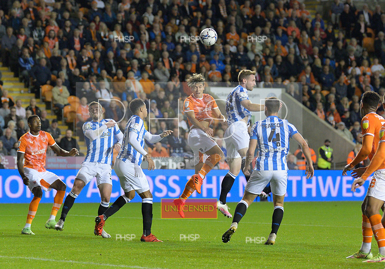 14/09/2021 Sky Bet Championship Blackpool v Huddersfield Town  <br /> <br /> Kenny Dougall heads over