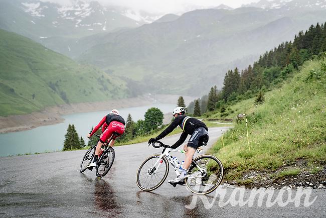 World Champion Julian Alaphilippe (FRA/Deceuninck - QuickStep) descending the Col du Pré (HC/1748m) towards the Barrage de Roselend in, yet again, grim conditions.<br /> <br /> Stage 9 from Cluses to Tignes (145km)<br /> 108th Tour de France 2021 (2.UWT)<br /> <br /> ©kramon