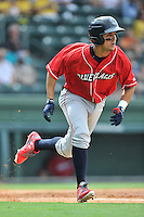 Third baseman Emmanuel Marrero (16) of the Lakewood BlueClaws bats in a game against the Greenville Drive on Sunday, June 26, 2016, at Fluor Field at the West End in Greenville, South Carolina. Greenville won, 2-1. (Tom Priddy/Four Seam Images)