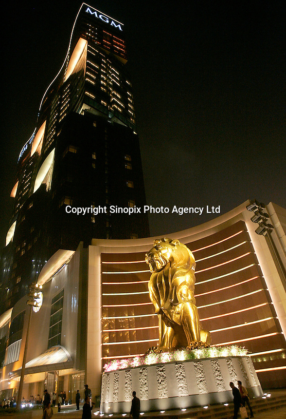 A night view of the 'MGM Grand Macau' casino.