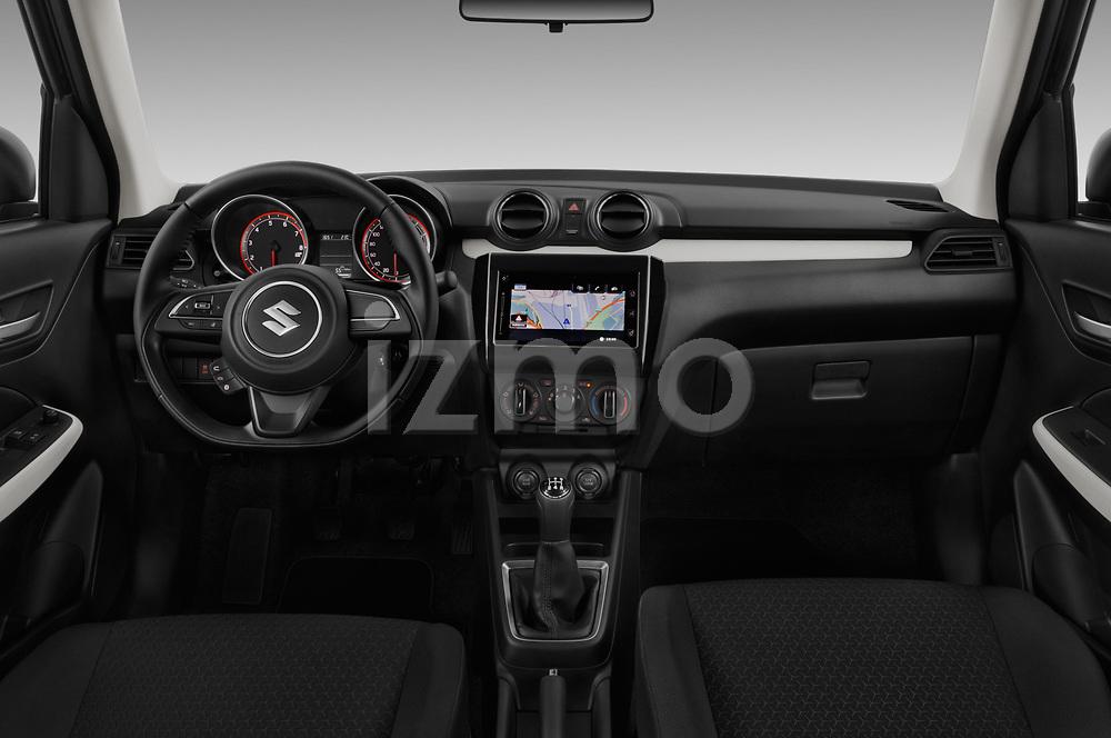 Stock photo of straight dashboard view of 2017 Suzuki Swift GL+ 5 Door Hatchback