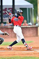Elizabethton Twins second baseman Yunior Severino (22) swings at a pitch and breaks his bat during game two of the Appalachian League Championship Series against the Princeton Rays at Joe O'Brien Field on September 5, 2018 in Elizabethton, Tennessee. The Twins defeated the Rays 2-1 to win the Appalachian League Championship. (Tony Farlow/Four Seam Images)