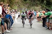 Wout Poels (NED/Ineos) up the brutal (last climb) Alto de Arraiz (up to 25% gradients!), 7km from the finish <br /> <br /> Stage 12: Circuito de Navarra to Bilbao (171km)<br /> La Vuelta 2019<br /> <br /> ©kramon
