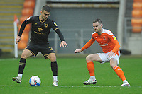 Milton Keynes Dons' Daniel Harvie under pressure from Blackpool's Oliver Turton<br /> <br /> Photographer Kevin Barnes/CameraSport<br /> <br /> The EFL Sky Bet League One - Blackpool v Milton Keynes Dons - Saturday 24 October 2020 - Bloomfield Road - Blackpool<br /> <br /> World Copyright © 2020 CameraSport. All rights reserved. 43 Linden Ave. Countesthorpe. Leicester. England. LE8 5PG - Tel: +44 (0) 116 277 4147 - admin@camerasport.com - www.camerasport.com