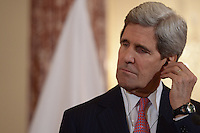 Washington, DC - February 7, 2014: Secretary of State John Kerry listens to a translation as Japanese Foreign Minister Fumio Kishida makes remarks to the media at the State Department, February 7, 2014. (Photo by Don Baxter/Media Images International)