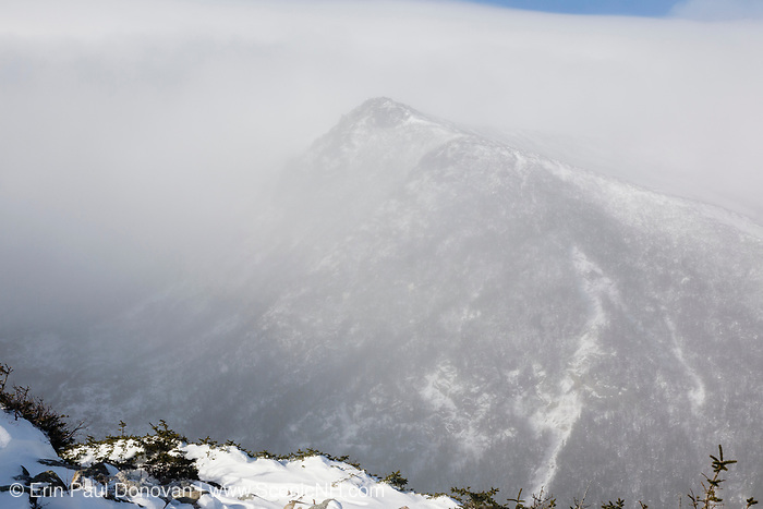 Mount Washington - Tuckerman Ravine in whiteout conditions from Boott Spur Trail in the White Mountains, New Hampshire USA during the winter months.