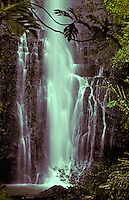 Spectacular Wailua Falls in lush surroundings near Hana, Maui.